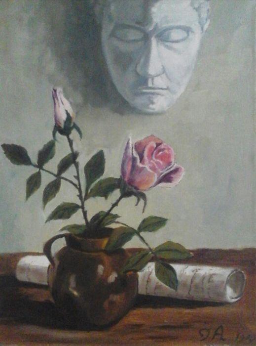 Cj. A (20e eeuw) - Stilleven masker met rozen  Mooi stilleven masker met roosjes.- afmeting doek : 35 x 30 cm- in goede staat - datering : 1984- de lijst heeft gebruikssporen - aangetekende verzending  EUR 0.00  Meer informatie