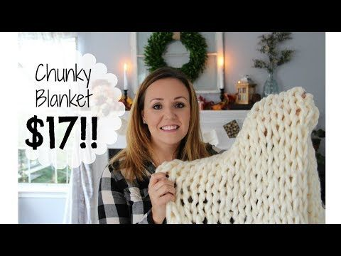 How to make a Chunky Knit Blanket for $17 | Knit Blanket Tutorial for Beginners | - YouTube