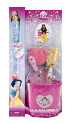 "Disney Princess Snow White Musical Cleaning Set (Open Card) by Jakks. $47.67. From the Manufacturer                Do housework like a Princess with the Disney Princess Musical Cleaning Set. The broom plays ""Whistle While You Work"" so you can sing along as you clean.                                    Product Description                Do housework like a Princess with the Disney Princess Musical Cleaning Set. The broom plays Whistle While You Work so you can sing along..."