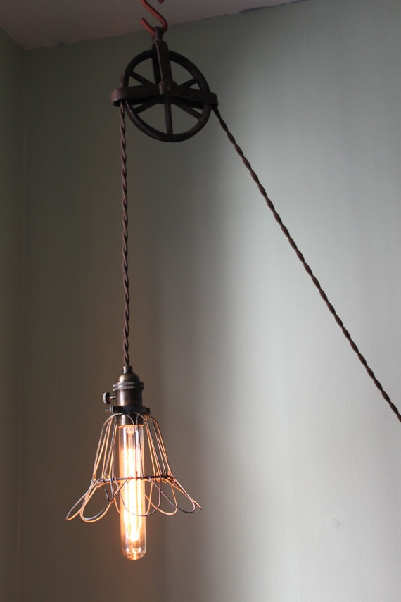 Antique Pulley Wheel Lamp with cage cover by pgpostals on Etsy, $189.00