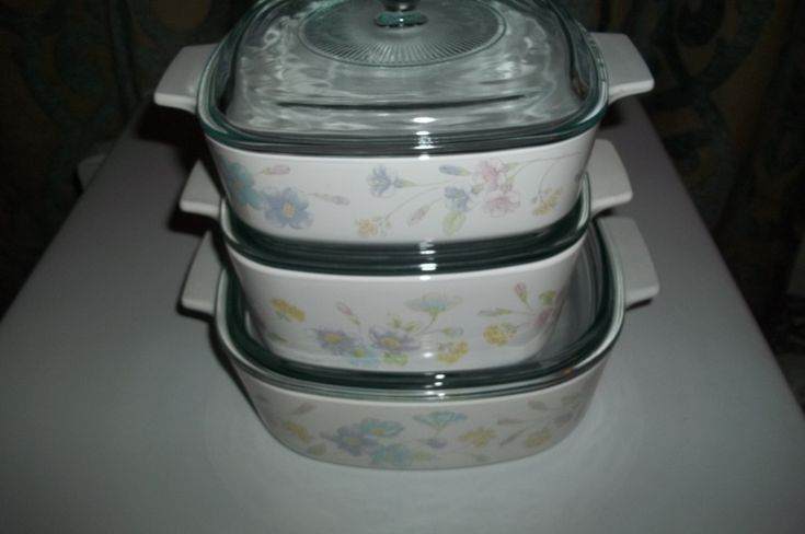 Corning Ware Set o f3- 1 and 1 1/2, and 2 Quart Pastel Bouquet Baking Dishes w/Pyrex Lids by PyrexKitchen on Etsy