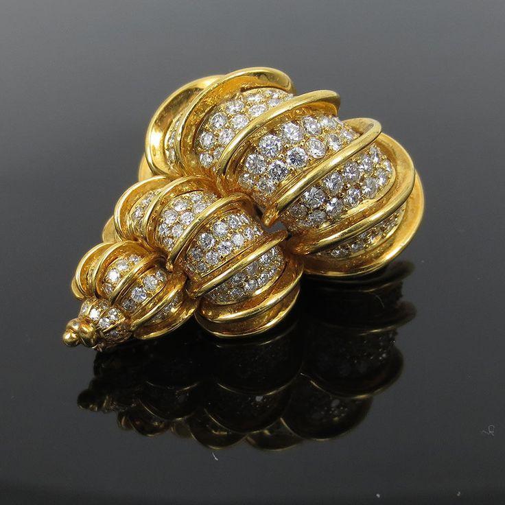 Vintage Kurt Wayne 11ct Diamond 18K Gold Large Seashell Pin Brooch #KurtWayne
