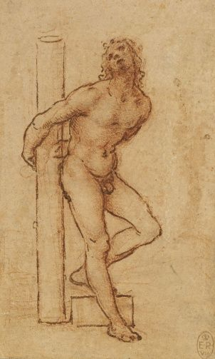 Leonardo da Vinci (Vinci 1452-Amboise 1519) - A nude young man bound to a column