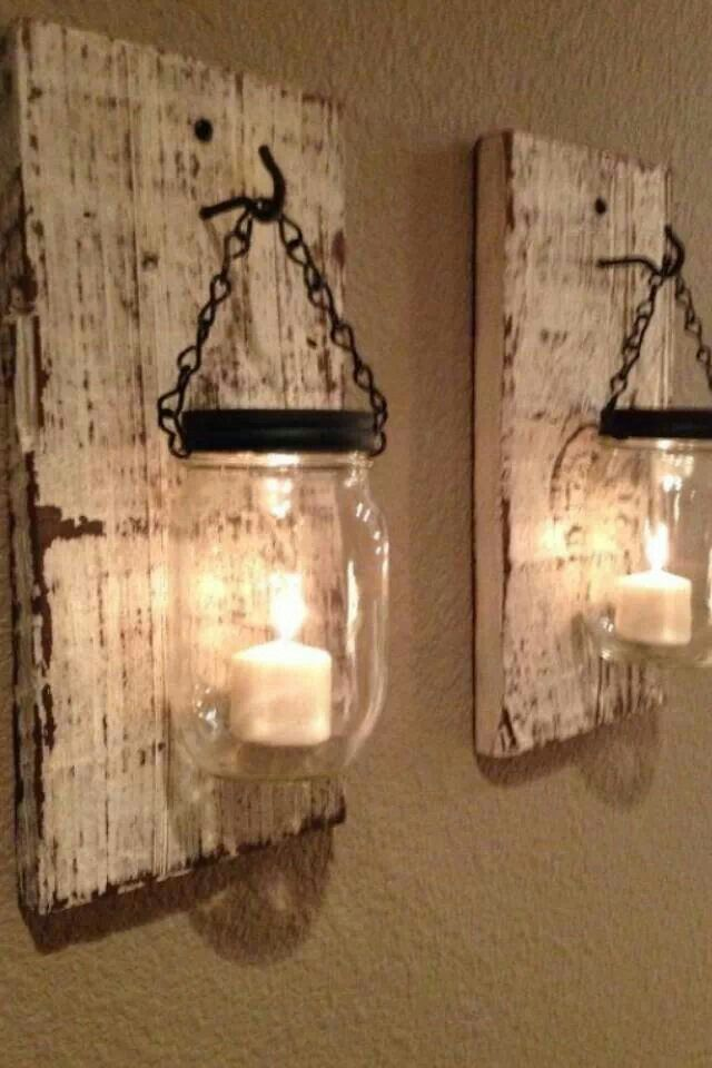 Rustic DIY Lamps. i could put them in the dining room around the pass through window.