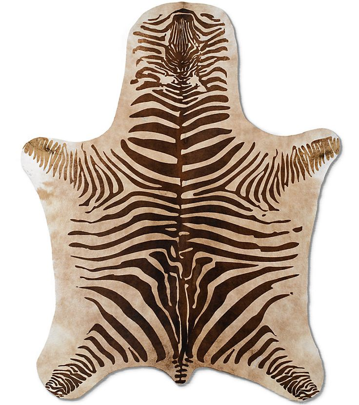 For a contemporary take on safari inspiration, use an animal print hide like this Agentine Zebra Hide ($795, originally $995) to layer over woven rugs or to stand alone as a statement piece.