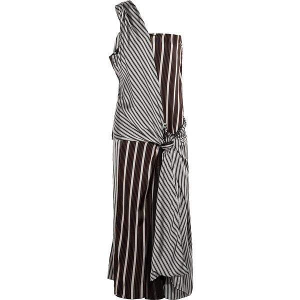 Joseph - Mishar One-shoulder Striped Satin Dress (1,330 ILS) ❤ liked on Polyvore featuring dresses, black, one shoulder satin dress, satin cocktail dress, colorful dresses, striped dress and striped cocktail dress