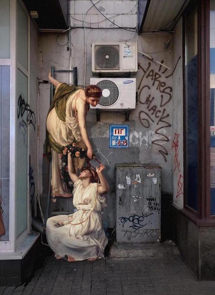 "Ukranian multimedia artist Alexey Kondakov flexes his Photoshop prowess to take characters from classical paintings and transport them into everyday  scenes in his series ""Art History in Contemporary Life"". The ongoing project sees the artist take banal photographs of contemporary urban life — from subway cars to waiting rooms and trash-filled alleyways, and inserting figures from paintings by the likes of Bouguereau and Holbein. In doing so, Kondakov creates a playful meditation on the…"