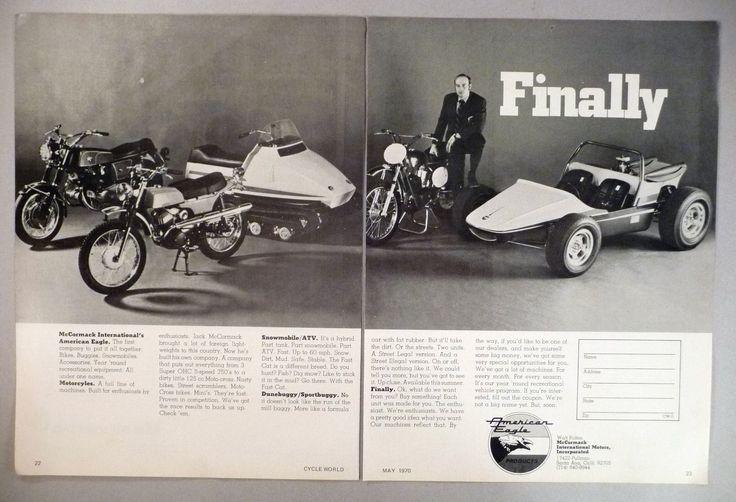 McCormack Motorcycle 2-Pg PRINT AD - 1970 ~ snowmobile/ATV, dunebuggy/sportbuggy | eBay