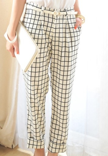 White Casual Checkered Flanging Pants