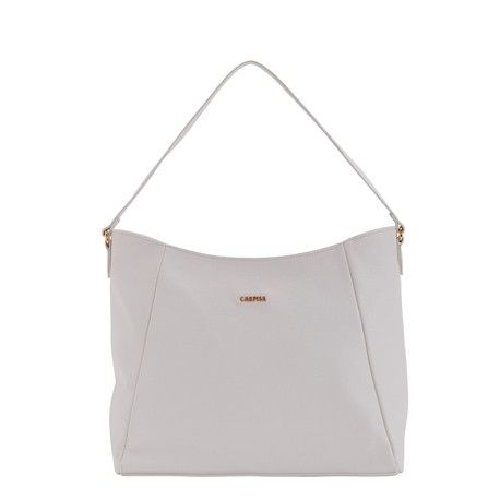 This Mietta handbag is an elegant bag in faux leather. Quite roomy, it is ideal for taking with you all those personal items and accessories you need every day. With a narrow, matching shoulder strap it measure 33x30x14 cm and comes in three colour options: white, black and light tan.