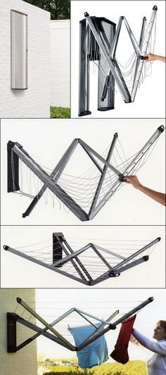 Nifty wall-mounted folding laundry rack #product_design #industrialdesign