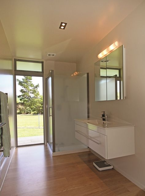 An external access bathroom is ideal for showering after a day at the beach.