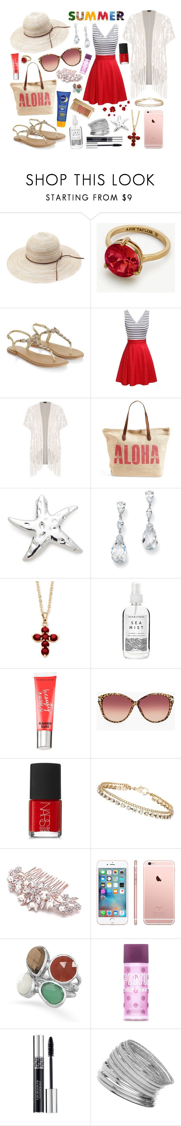 """""""Beach Vibes"""" by xorozetaxo ❤ liked on Polyvore featuring Ann Taylor, Accessorize, City Chic, Rip Curl, Kim Rogers, Palm Beach Jewelry, Herbivore, Victoria's Secret, Nivea and Chico's"""