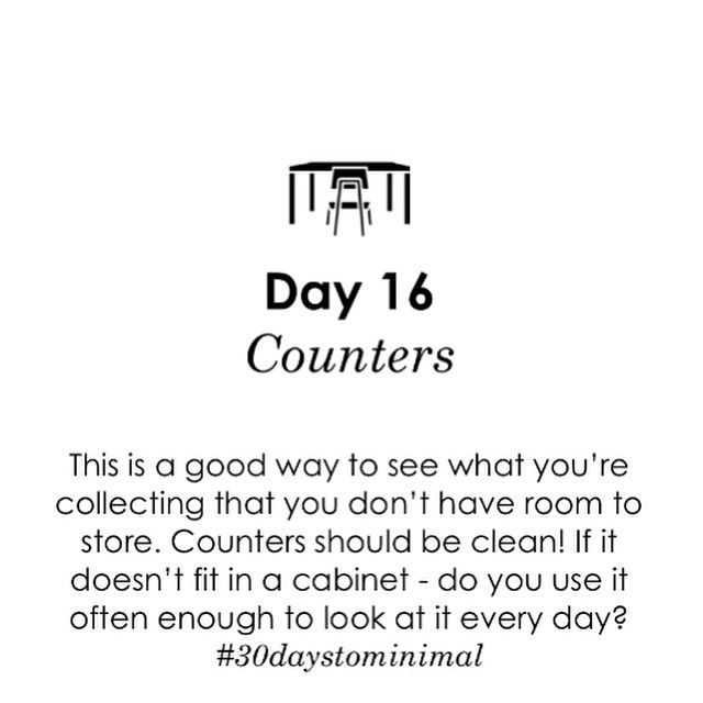 Day 16 of #30daystominimal: clutter free counters! Trust me - this one makes a big impact!