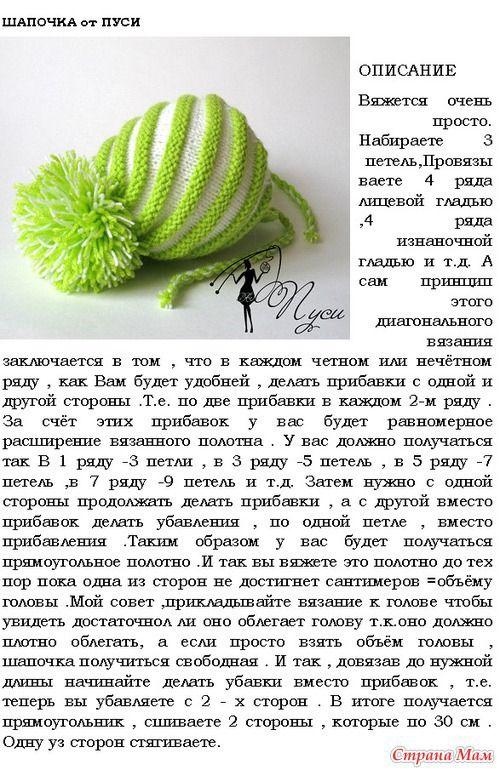 шапка по диагонали спицами описание: 23 тыс изображений найдено в Яндекс.Картинках