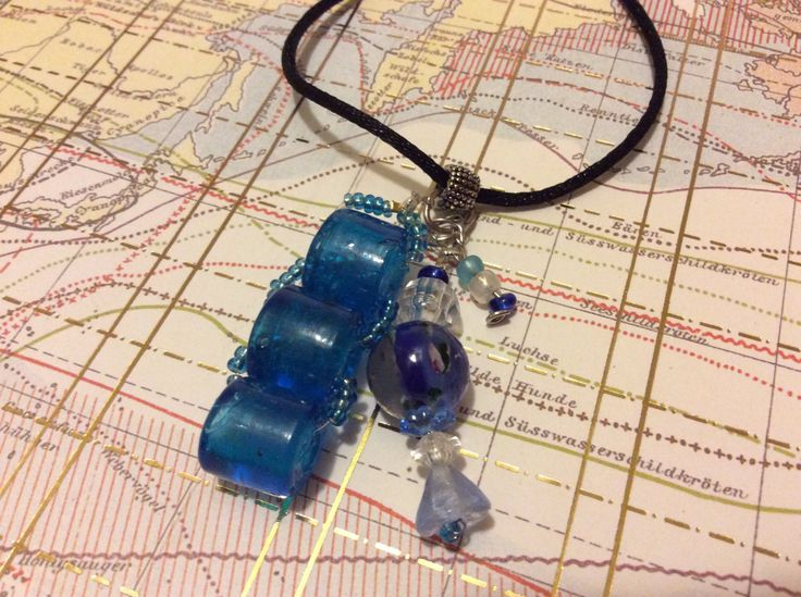 """Boho Hippie Glass Bead Recycled Imperfect Glass Pendant 24"""" (60cm) Pendant Green Blue Mermaid Glass Necklace Fashion Jewellery by AliceAndBettyDesigns on Etsy"""