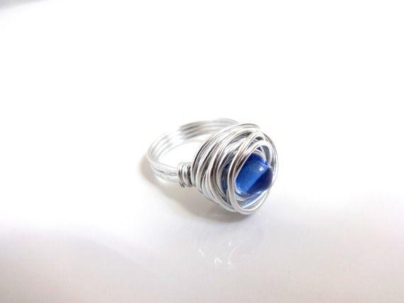 Bague classique argenté et bleu - aluminium et perle