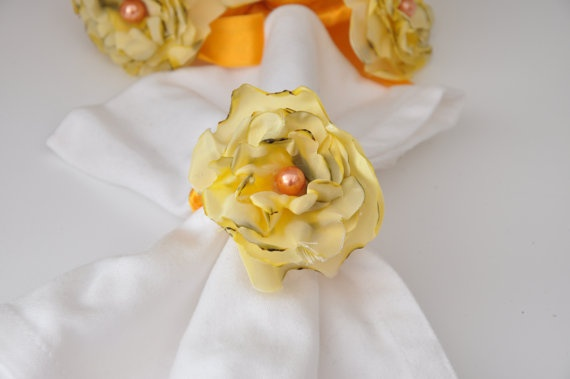 Yellow Napkin Rings by Satin Fabric Flowersset of 6 by DOGAART, $33.00