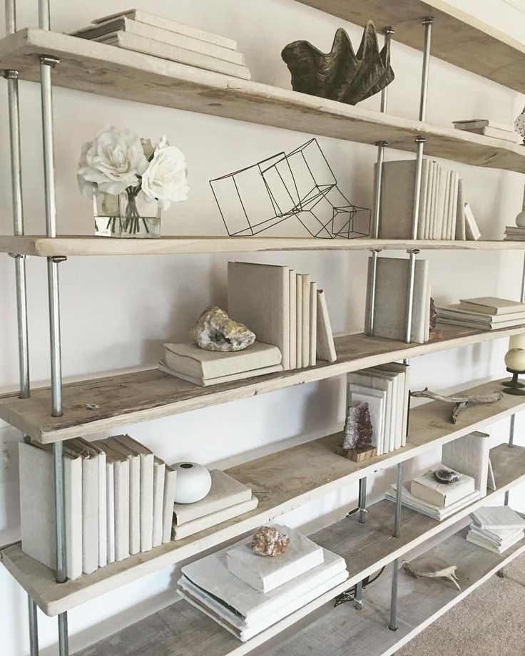 Salvaged Oak Industrial Bookshelf by RAKA MOD | Rustic Industrial Shelving | Whitewashed Furniture | Shelfie | Monochromatic Shelving Unti | Beach Decor | Nautical Decor | Nautical Room | Monochromatic Decor | Beige interiors | White Interiors | Beachy Decor | Beachy Furniture | Linen Covered Books | Style a Bookshelf