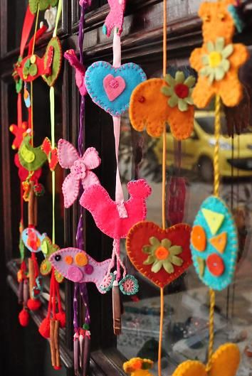 Hang them at your doors, or windows..  oooh yes, I want to do the elements into one of these hangings.  I have seen a simple paper one of birds and simple shapes sewn together recently