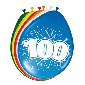 Gekleurde ballonnen 100 jaar. Deze gekleurde ballonnen hebben een opdruk met het cijfer 100 en zijn verpakt per 8 stuks. Formaat: 30 cm.