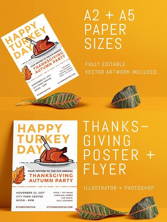 Thanksgiving Fall Event Poster+Flyer Flyer Templates Flyer size