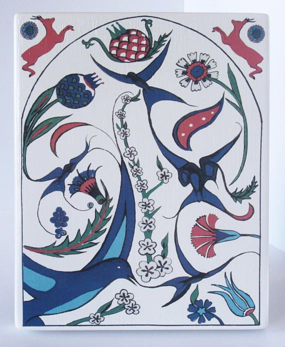 Bird and Floral Ottoman Inspired Artwork Design on Chunky Ceramic Plaque.  Ready to Hang on Wall or Propped on a Plate Stand etc.
