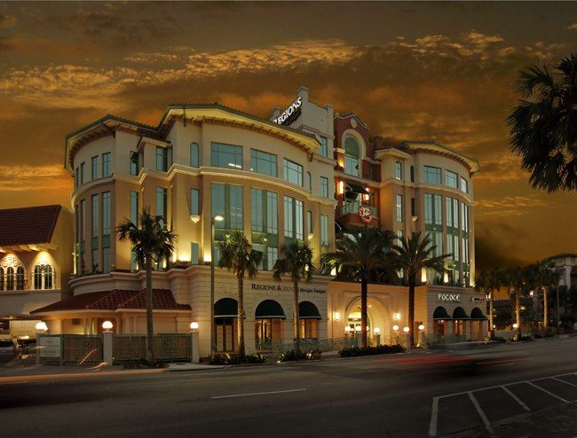Hotel exterior at twilight - example of commercial property