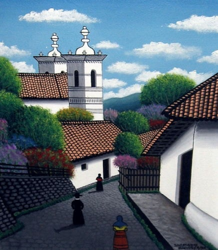 honduran village church & villagers by tulio e velasquez