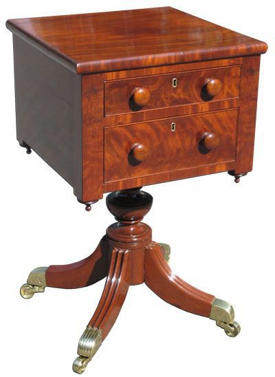 A Classical Carved Mahogany Work Table; Baltimore, C.1825; Possibly From  The. Antique FurnitureBaltimoreMaryland