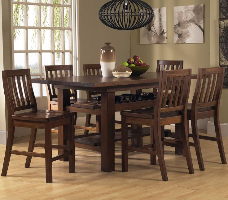 Outback Distressed Chestnut Seven Piece Counter Height Dining Set Hillsdale  Furniture Coun
