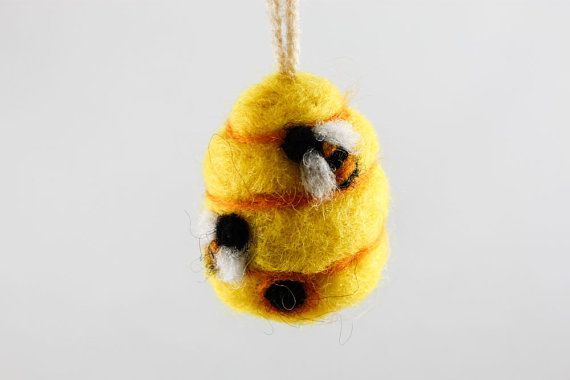 Hey, I found this really awesome Etsy listing at https://www.etsy.com/listing/168395044/felted-beehive-ornament-yellow-wool