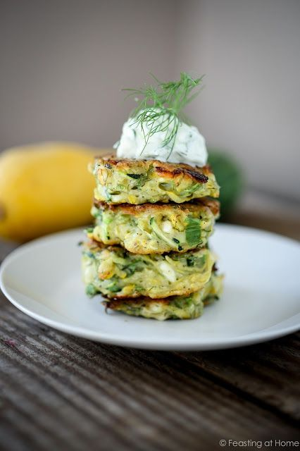 Feasting at Home:  Dilled Zucchini Fritters with Feta and Tzatziki