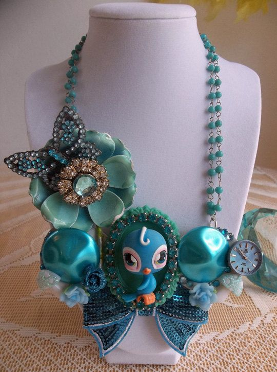 vintage Littlest Pet Shop blue bird bib necklace by gumdropglamour, $65.00