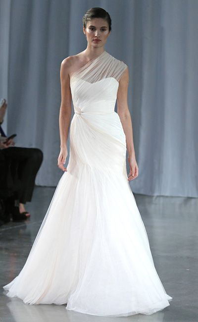 Monique Lhuillier Wedding Dresses: Asymmetric twisted tulle gown