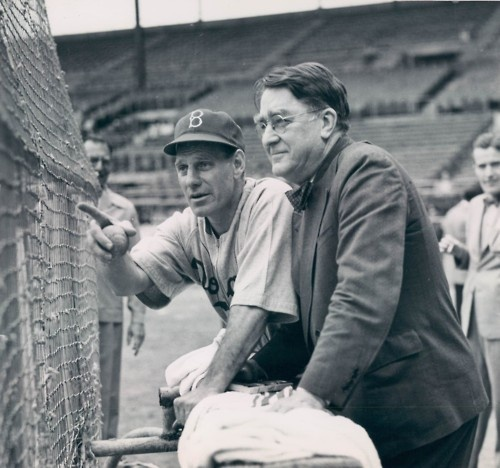 Brooklyn Dodgers manager Leo Durocher, left, and team president Branch Rickey behind the batting cage during spring training at El Gran Stadium in Havana, Cuba, on Feb. 22, 1947.