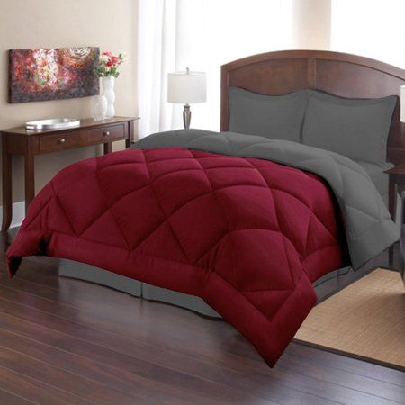bed bath n more Down Alternative Burgundy and Grey Reversible 3-piece Microfiber Comforter Set - Walmart.com