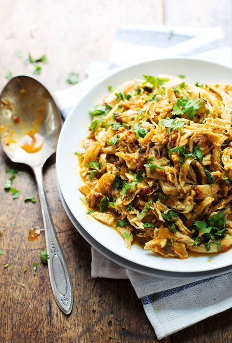 Spicy Chipotle Shredded Chicken - saucy, flavorful chicken that works in tacos, salads, nachos, and more! 190 calories.   pinchofyum.com