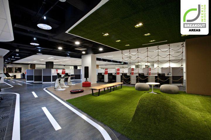 Un diseño muy original en estas oficinas de call center en Singapure. el #cespedartificialdecorativo queda genial, a que si?