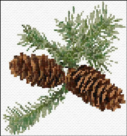 Cross Stitch | Pine Cones xstitch Chart | Design