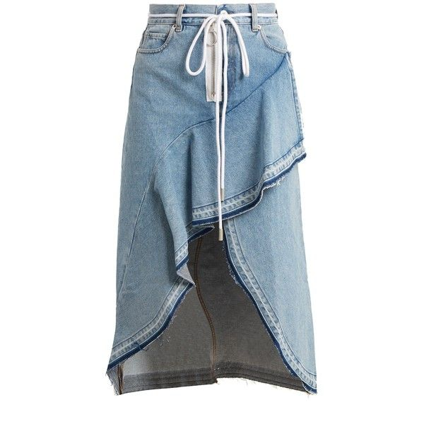 Off-White Asymmetric-hem denim skirt ($612) ❤ liked on Polyvore featuring skirts, denim, high-waist skirt, asymmetric hem skirt, off white skirt, high waisted denim skirt and denim skirt