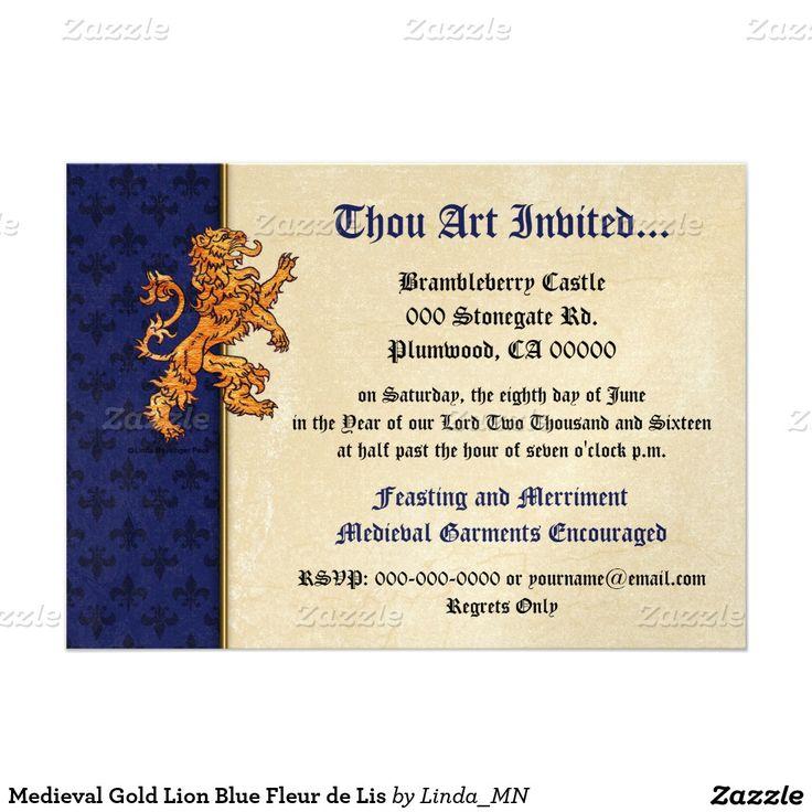 93 best cards party invitations images on pinterest lyrics text medieval gold lion blue fleur de lis 5x7 paper invitation card stopboris Images