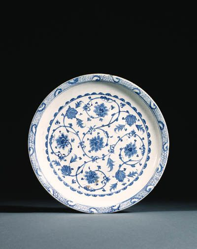 Christie's Large Image- AN IZNIK BLUE AND WHITE POTTERY DISH OTTOMAN TURKEY, SECOND QUARTER 16TH CENTURY