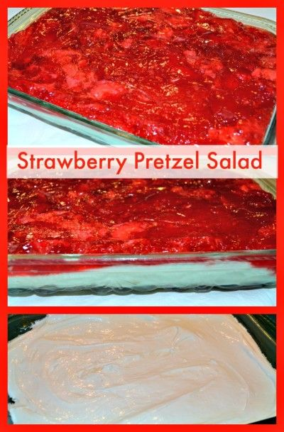 Strawberry Pretzel Salad - If you have never had this salad, please try it soon!  You will love this sweet and salty combination. http://recipesforourdailybread.com/2013/01/22/best-strawberry-pretzel-salad/  #salad #side dish #Easter