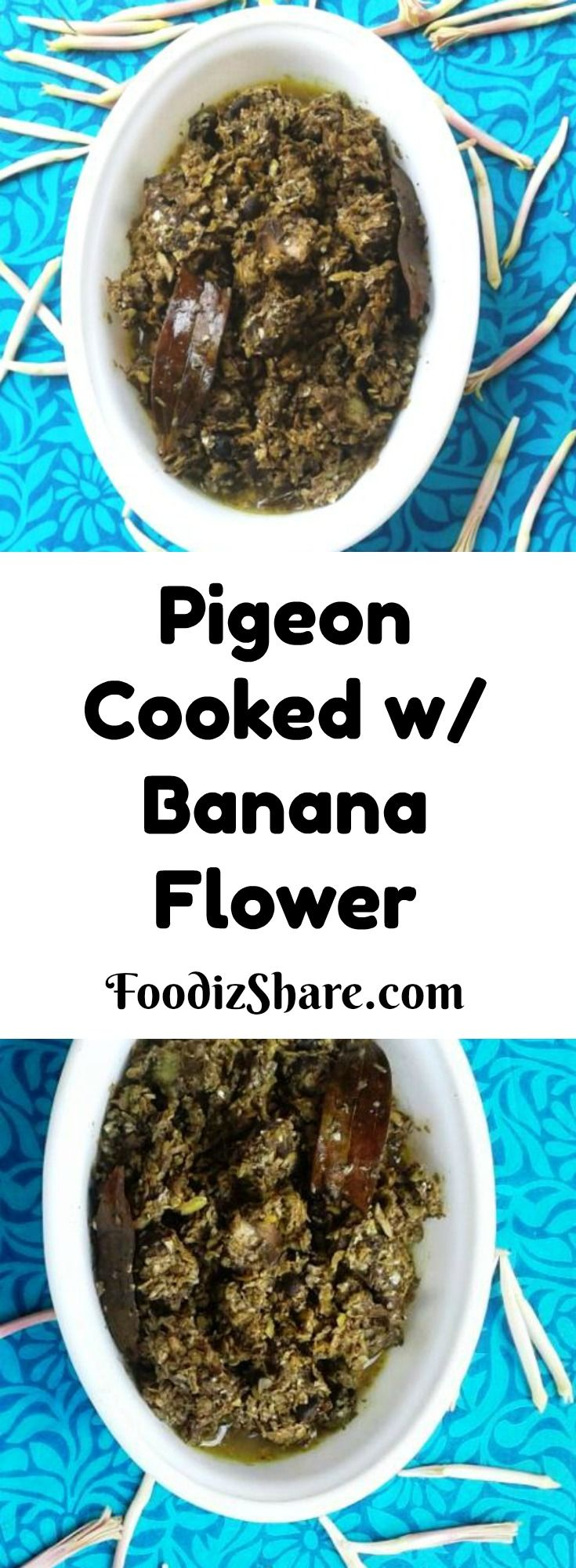 This is a #traditional and #healthy #recipe for pigeon #meat cooked with banana flower. It is a highly nutritious and iron rich dish recommended for anemic people. #healthyrecipes #indian #comfortfood #glutenfree #food #poultry