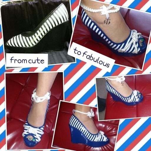 Nautical shoe makeover - the cutest! Black n white stripes wedge painted navy with rope added across peep toe and around ankle. Anchor charm on strap. 3/24/13