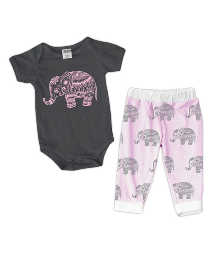 Take a look at this Charcoal & Pink Elephant Bodysuit & Harem Pants - Infant today!