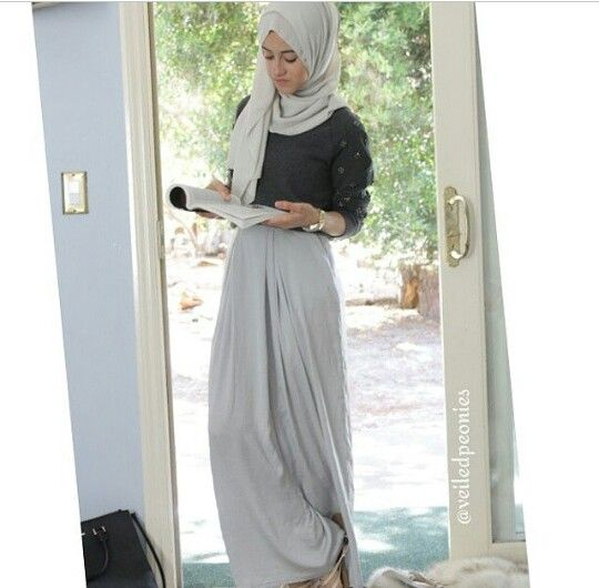 Grey maxi skirt ..... Hijab style . | Hijab u0026 Modest clothes | Pinterest | Gray maxi skirts ...