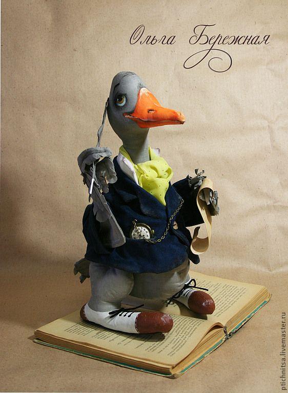 Гуссенин - серый,гусь,птица из ткани,текстильная птица,есенин,перо,поэма