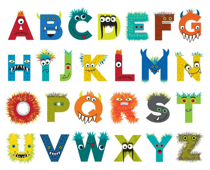 Custom designed monster alphabet for Psychobaby.